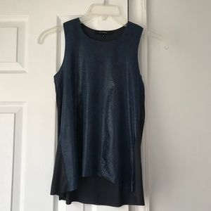 Olivaceous Navy Faux Snakeskin Top